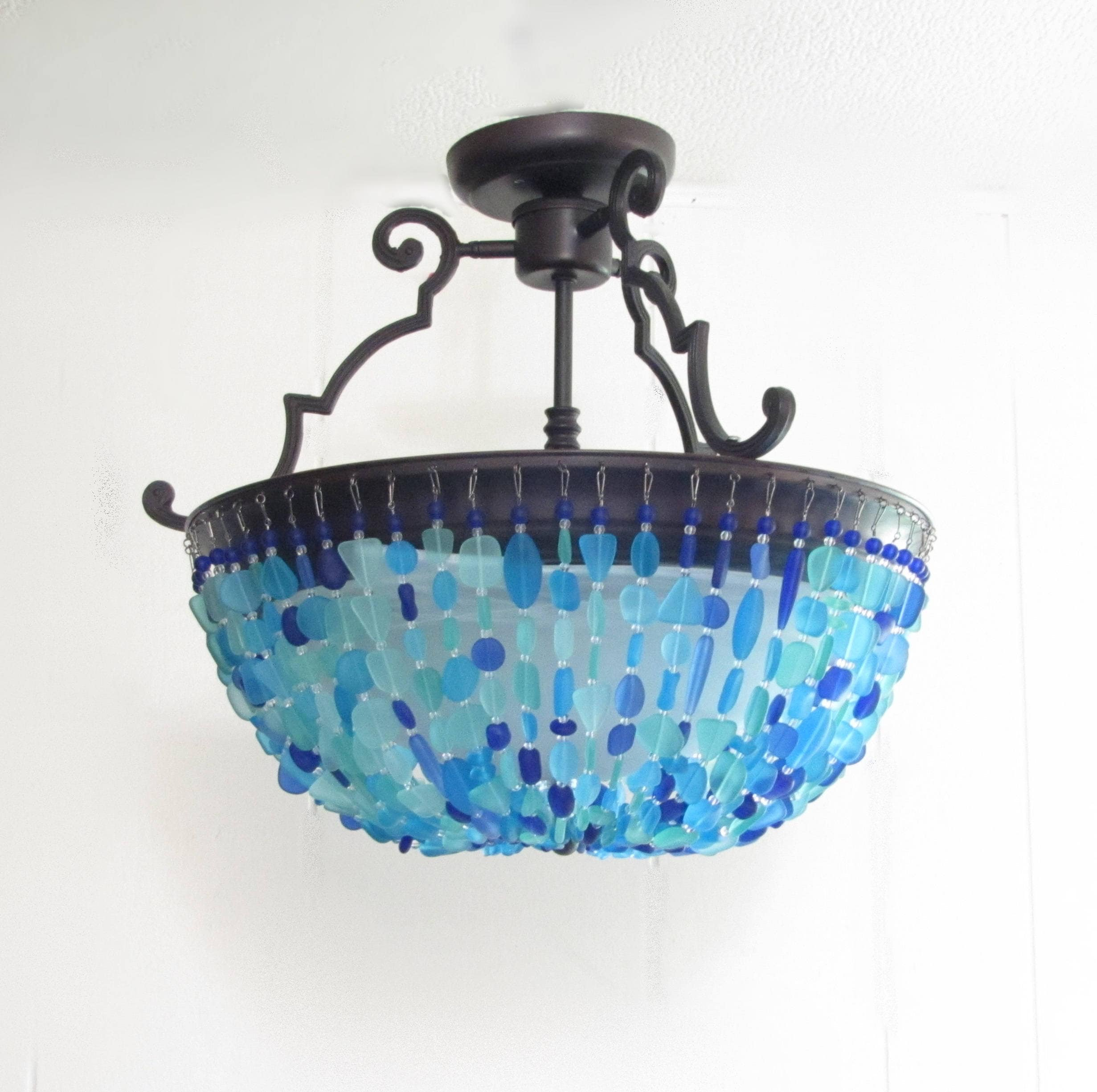 Beach Lighting Products: Sea Glass Chandelier Lighting Fixture Beach Glass Ceiling