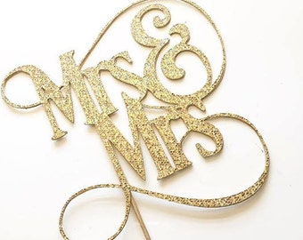 Mrs. & Mrs. Fancy Wedding Cake Topper