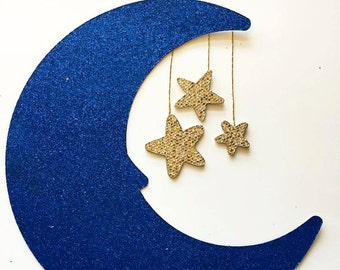 Moon with Stars Glitter Cake Topper