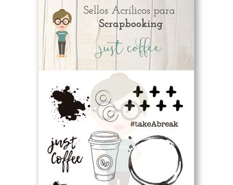 Clear Scrapbooking Stamp JUST COFFEE