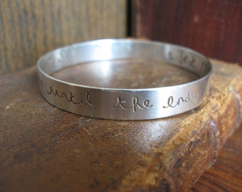 Solid Sterling Silver Hallmarked Memorial Bangle - treasure your loved one's HANDWRITING.