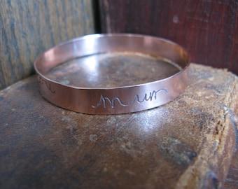 Solid Copper Bangle with YOUR HANDWRITING, personalised, children, grandchildren, quotes, lyrics, verses etc.