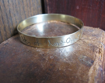 Solid Brass Bangle with YOUR HANDWRITING, personalised, children, grandchildren, quotes, lyrics, verses etc.