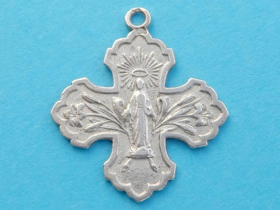 French Antique Religious Sterling Pendant Cross Catholicism Saint Virgin Mary Silver Art Deco Medal 180520 1 E