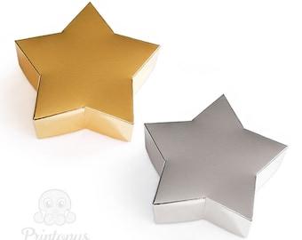 star shape printable gift box template pdf digital file instant download