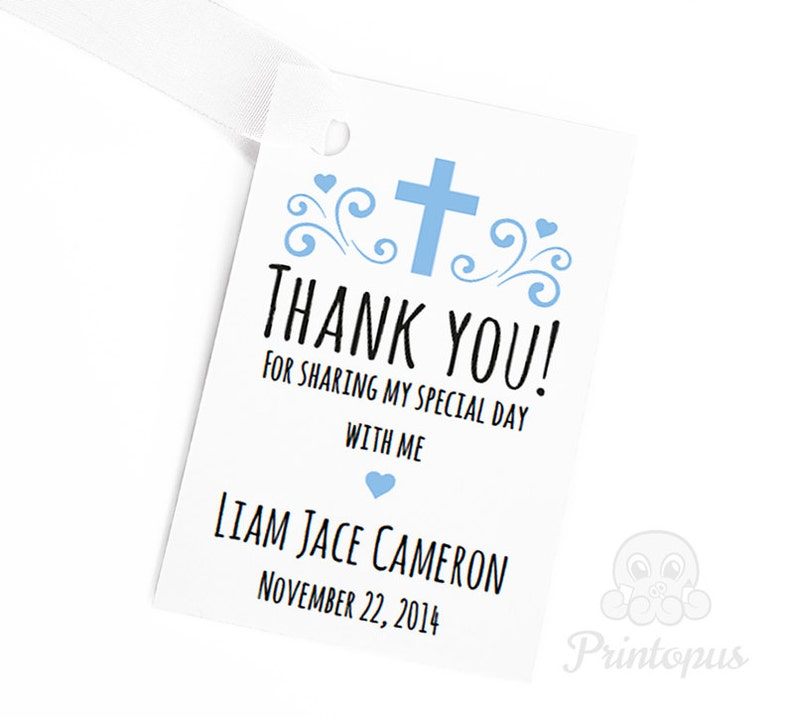 Editable Printable Baptism Favor Tags Baby Boy Blue  DIY image 0