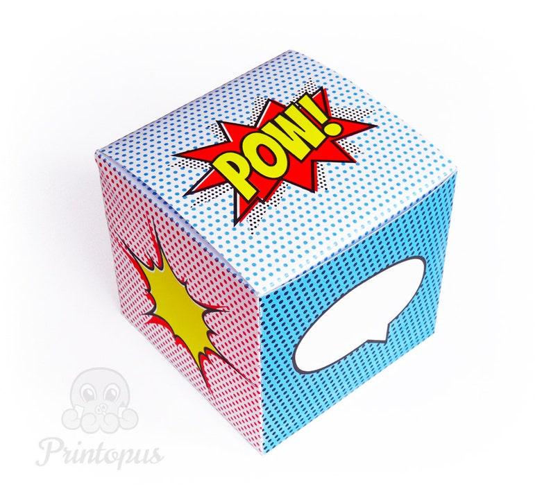 Comic Popart Pow Superhero Printable Favor Box Cube  DIY image 0