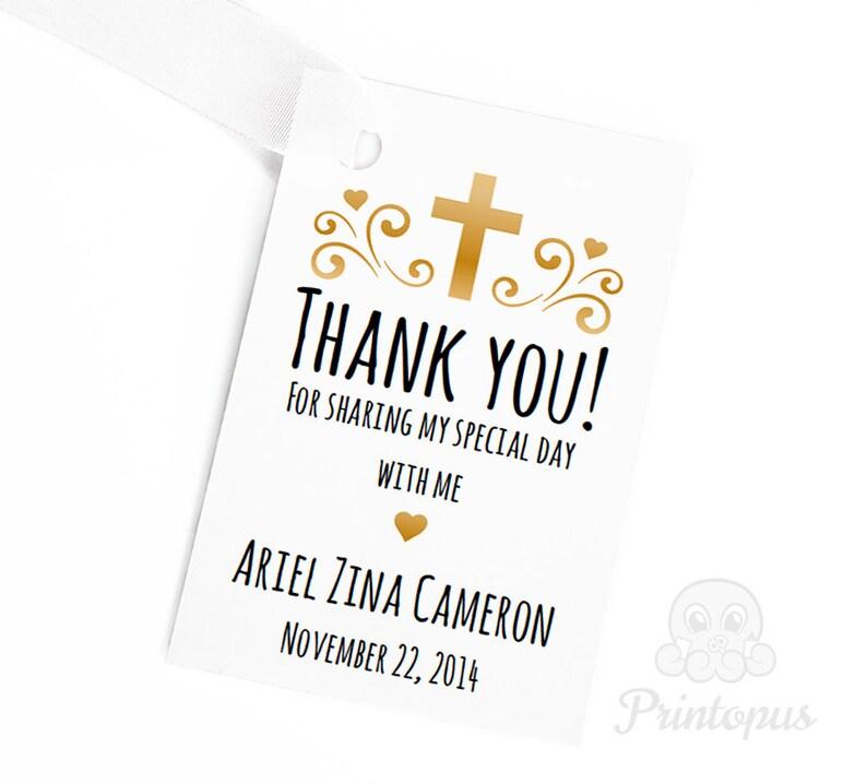 Editable Printable Baptism Favor Tags Baby Girl Gold  DIY image 0