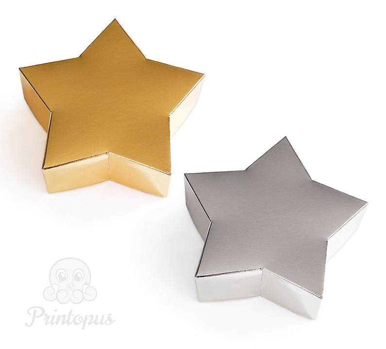 Star Shape Printable Gift Box Template  PDF Digital File  image 0