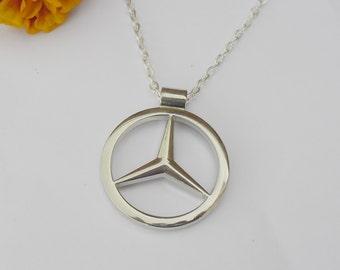 bc24953ab856 Mercedes Benz Merc Silver Necklace Pendant or Mirror Dangler