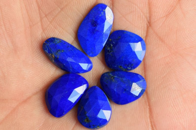 Pendant Stone AG-8601 Best Price Faceted Cut Natural Blue Lapis Lazuli 6 Piece Lot Cabochon Ring Stone Lot Suppliers Jewellery Making