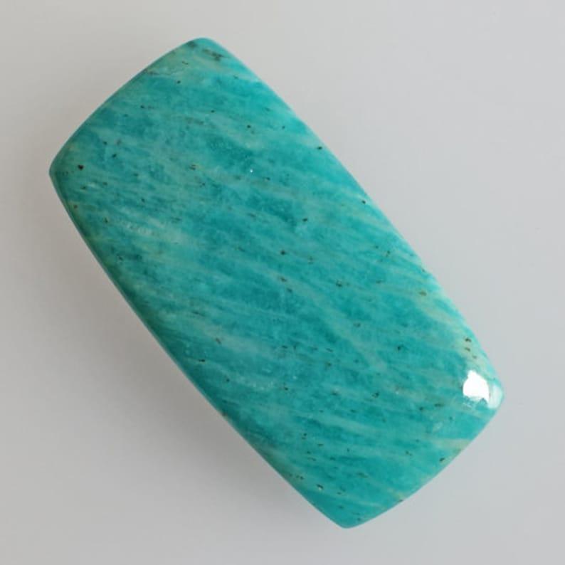 Jewellery Making Natural Aqua Blue Amazonite Cabochon Flat Back Amazonite Suppliers Size 41x21x5.5 MM Pendant Stone Handmade AG-13687