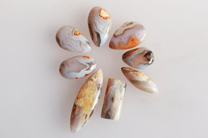 AG-11983 Wholesale Lot Designer Pendant Ring Stone Jewellery Making Amazing Quality Natural Purple Passion Agate 8 Pieces Lot Cabochon
