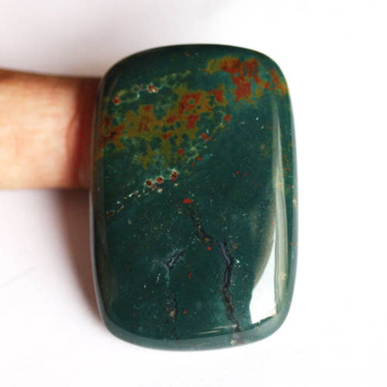 High Quality Natural Red And Green Bloodstone Rectangle Cabochon Size 44X29X7 MM AG-4516 Pendant Stone Jewelry Supplies Meditation Stone
