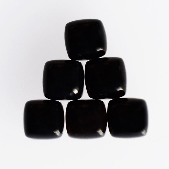 Square Lot Natural Black Onyx 3x3mm To 10x10mm Square Cabochon Loose Gemstone