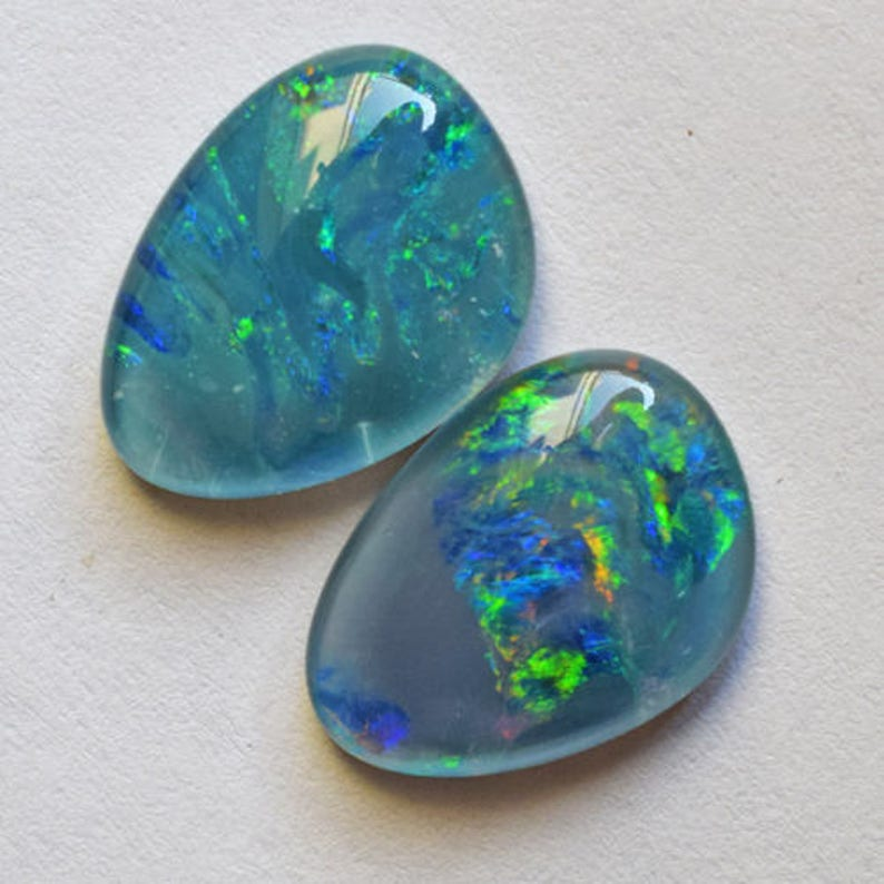 Wholesale Price AG-7623 Nice Quality Triplet Multi Color Fire Opal Pair Cabochon Triplet Flashy Opal Opal Suppliers Earring Pair Stone