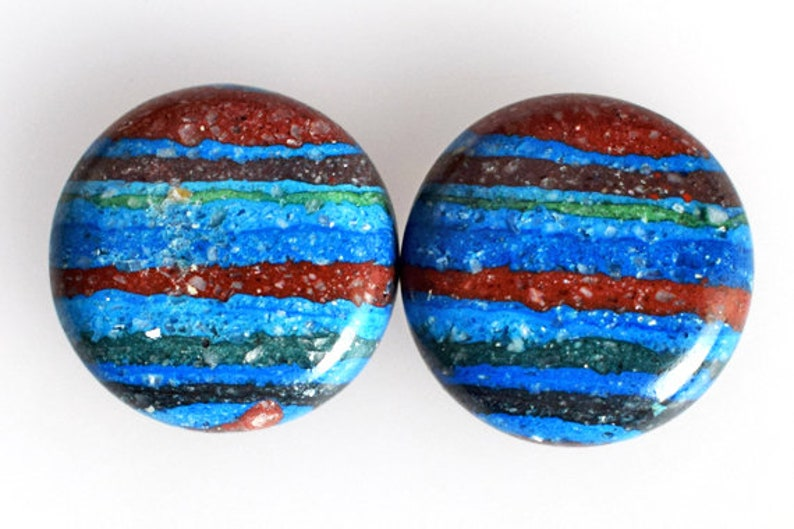 New Gemstone Suppliers Awesome Round Shape Rainbow Calsilica Pair Cabochon AG-9645 Matched Earring Pair Stone Hand Cut Pair Multi Color