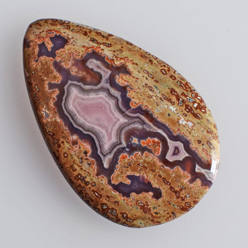 Pear Shape Size 61x38x6 MM AG-12816 Handmade Pendant Stone Affordable Price Natural Purple Passion Agate Cabochon New Jewellery Making