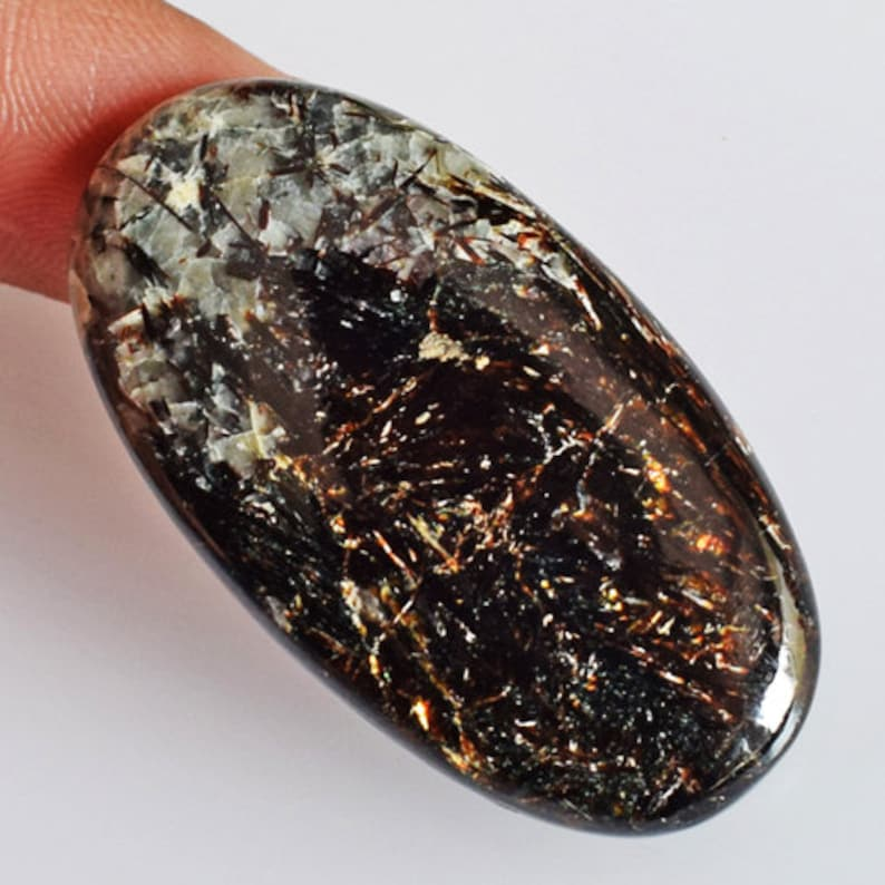 Size 39x21x5.5 MM Pendant Stone AG-12051 Wholesale Price Jewellery Making Good Quality Natural Golden Fire Astrophyllite Oval Cabochon