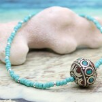 Tibetan Necklace with Blue Seed Beads | GOOD LUCK | Beaded Necklace, Blue Bead Necklace