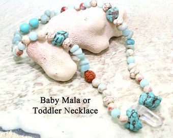 BABY MALA  Good Fortune  Beaded Choker  Healing Crystals for Children  Baby Necklace  Necklace for Kids  Toddler  Beaded Choker