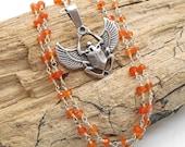 Carnelian and Scarab Necklace - Good Luck, Scarab, Egyptian, Beetle, Carnelian, career, ambition