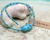 Beaded Blue Scarab Necklace - Egyptian Scarab, Seed Bead Necklace, Immortality, Transformation, Scarab Beetle, Scarab Jewelry, Blue Scarab