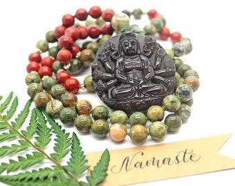 Rainforest Jasper 108 Bead Mala Prayer Beads, Kwan Yin Pendant, 108 Bead Mala Prayer Beads, Buddhist Prayer Beads, Knotted Malas