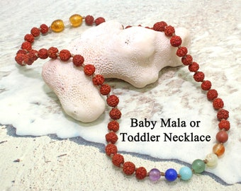 Newborn and Childrens Chakra Necklace / Toddler Necklace / Baby Mala / Crystal Healing / Protection / Childrens Mala / Toddler Mala