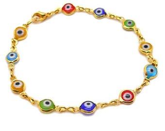 Gold Evil Eye Bracelet - Bad Karma, Evil Eye, Good Luck, Turkish Blue Eye, Evil Eye Bracelet, Yoga Jewelry