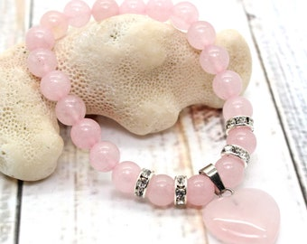 Gemstone Bracelet / ROSE QUARTZ / Wrist Mala / Heart Chakra Bracelet / Gemstone Healing Bracelet / Unconditional Love / Heart Bracelet