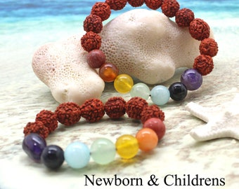 Newborn and Childrens Chakra Bracelet / Gemstone Bracelet / Baby Mala / Crystal Healing / Protection / Childrens Bracelet / Toddler Bracelet