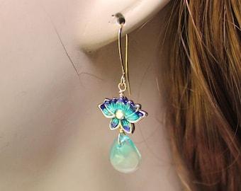 Lotus Flower Earrings - Dainty Lotus Flower Earrings, Gold Earrings, Enamel Flowers, Yoga Jewelry, Yoga Gift, Dainty Earrings