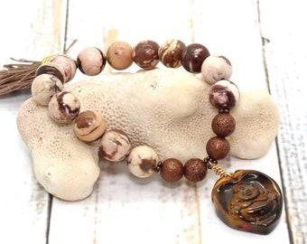Zebra Jasper Bracelet / Gemstone Bracelet / Wrist Mala / Chakra Bracelet / Gemstone Healing Bracelet / Reiki Jewelry / Stretch Bracelet
