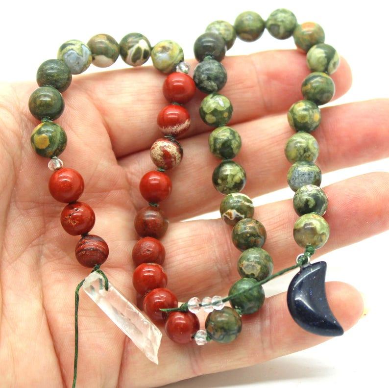 Rainforest Jasper Druid's Ladder - Witches Ladder, Pagan Prayer Beads,  Wicca, Witch Mala, Hecate's Key, Pagan Jewelry, Prayer Beads