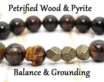 Healing Stone Bracelet / Mens Bracelet / Petrified Wood Bracelet / Gemstone Bracelet / Wrist Mala / Chakra Bracelet / Stretch Bracelet