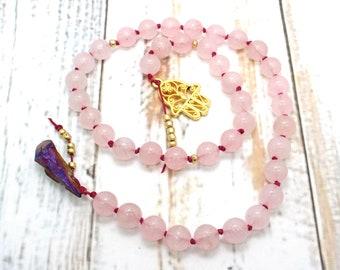 Wicca Prayer Beads / Pagan Prayer Beads / Pendulum - Witches Ladder, Pagan Prayer Beads, Wicca, Unconditional Love, Heart Chakra