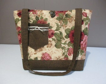 Quilted Tote Handbag Large Market Bag Cabbage Roses Handmade