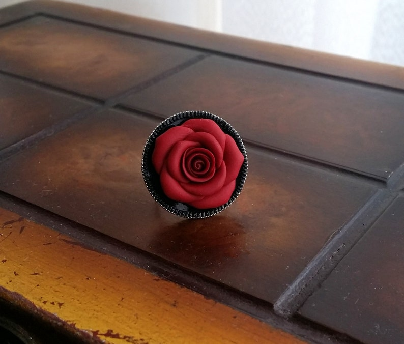 red rose emerge from black lake flower jewelry red /& black red rose flower gothic ring handmade from polymer clay Red rose round ring