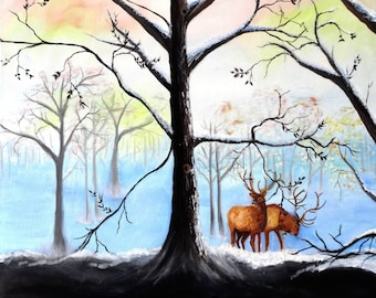 Winter landscape painting, original oil painting, wanderlust, forest scene, deer in forest, wall decoration, nature print, large painting