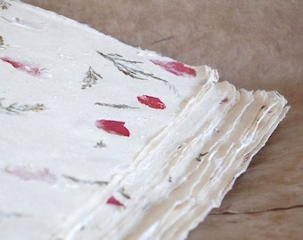 Full sheets Bhonswaa Flower paper,  20 x 30 inches, petal paper, Indian Himalayan handmade paper, pink flower petals, fern fronds,