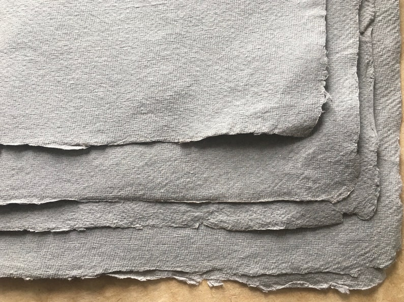 Khadi Indian handmade paper Rough surface 56 x 76 cm 22 x 30 inches full sheets Grey Cotton Rag mixed media pastels oils graphite
