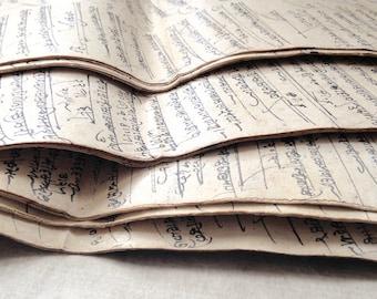 Indian Manuscript pages, Hemp paper, Old Accounts Records, Paper Ephemera, vintage ephemera, unusual paper, antique