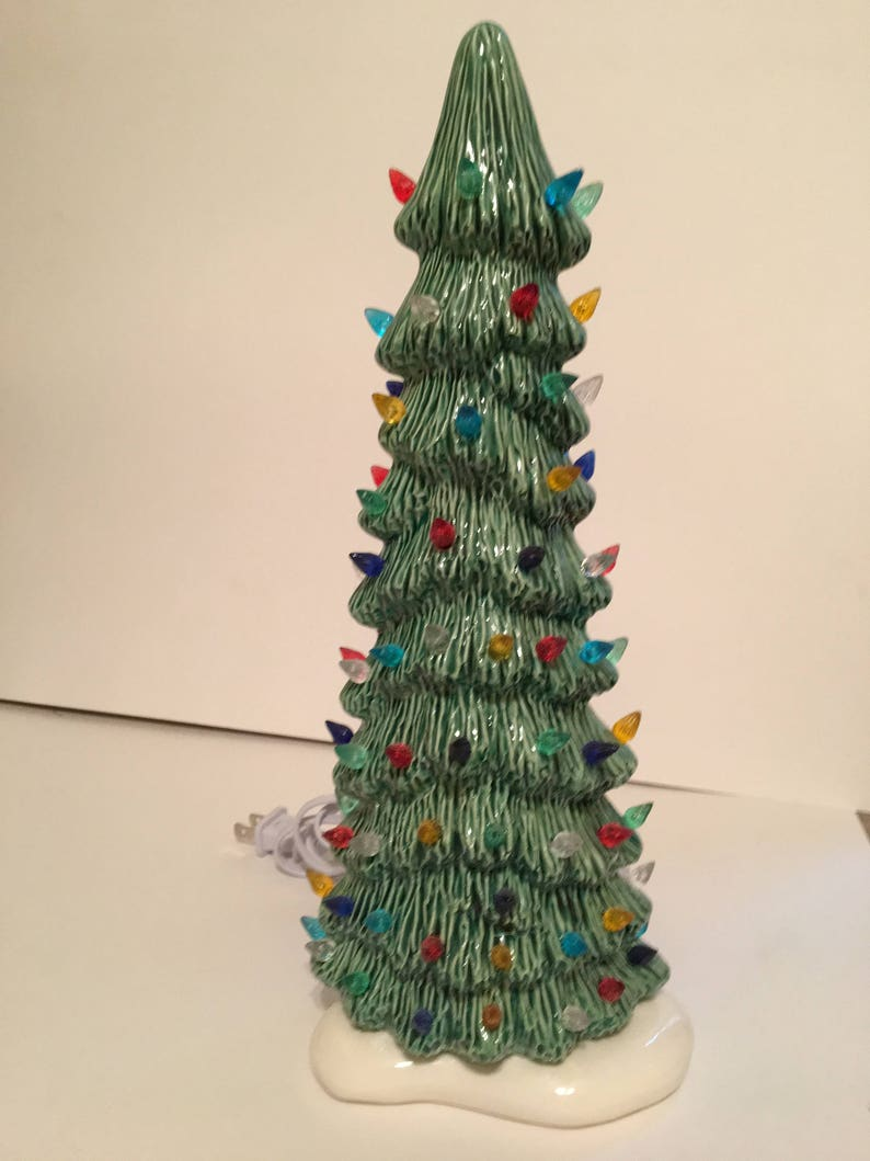 Handmade Ceramic 14 Tall Skinny Christmas Tree