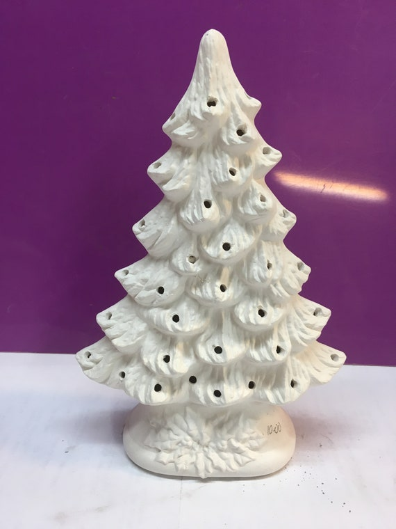 "15/"" Nowell Christmas Tree w Base and Light Kit Ceramic Bisque Ready to Paint"