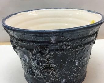 Handmade ceramic blue stucco effect flower pot