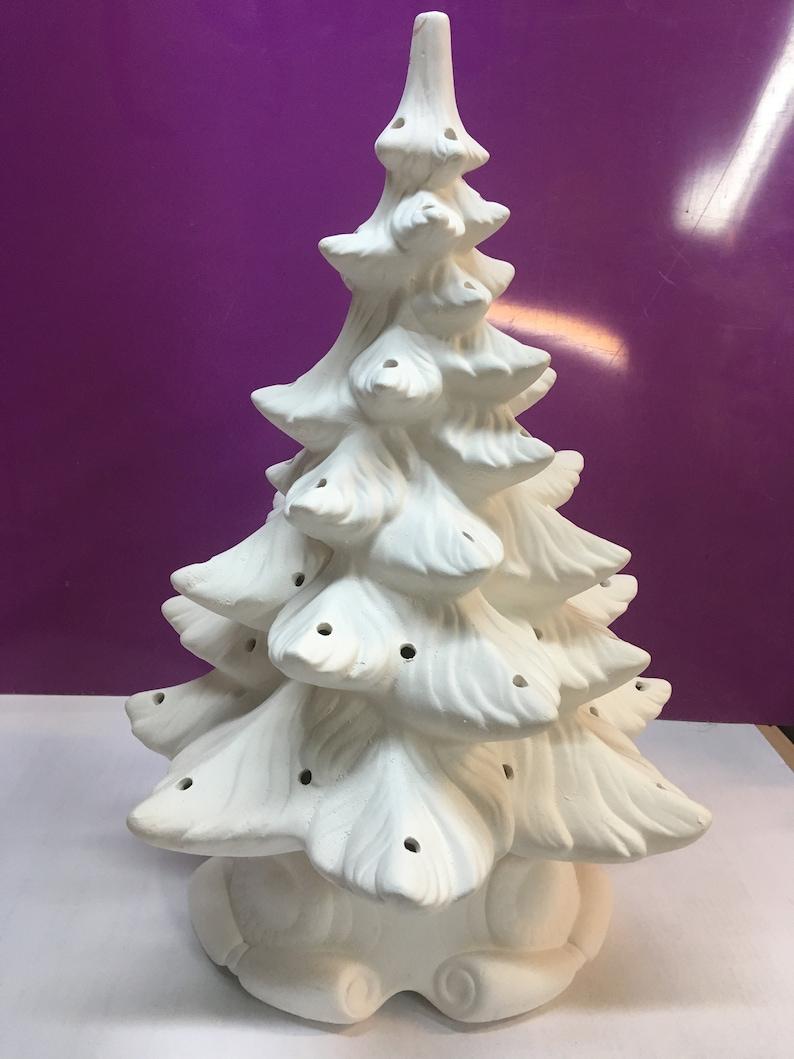 Large Bisque Atlantic Ceramic Christmas Tree