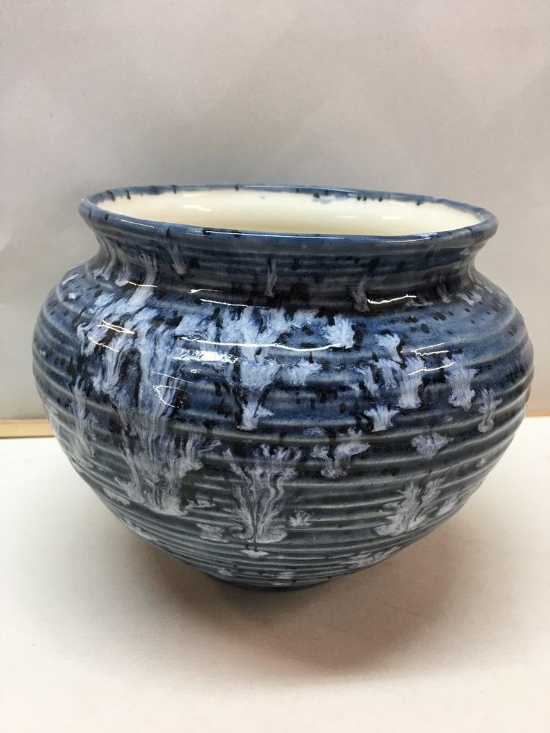 Handmade ceramic hand thrown flower pot