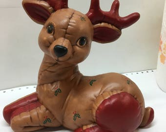 Handmade Laying quilted reindeer