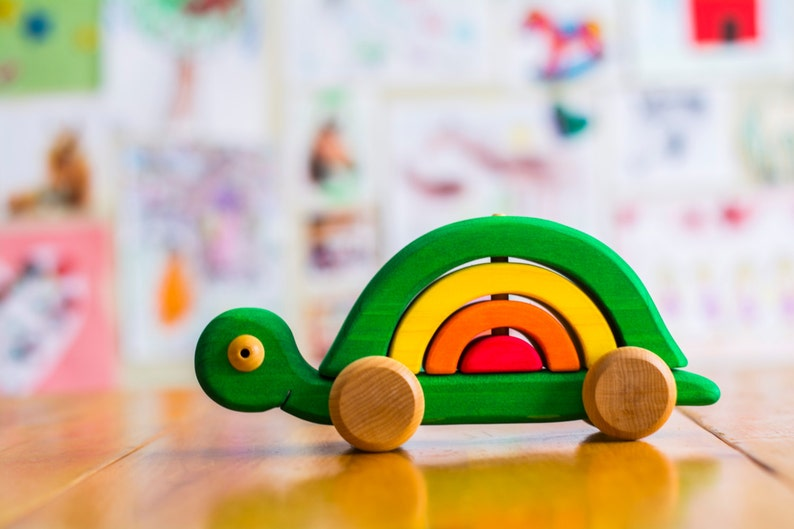 Wooden Stackable Turtle Stackable Toy Eco Friendly Toy Animal Toy